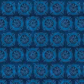 Picture of 5 Alarm Shields Firefighter Fire Dept Shield Tonal Blue Cotton Fabric