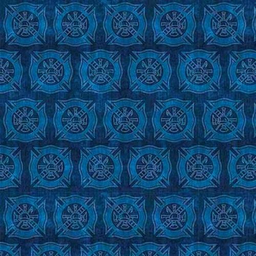 5 Alarm Shields Firefighter Fire Dept Shield Tonal Blue Cotton Fabric