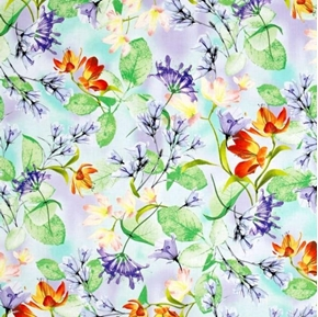 Picture of Belle Watercolor Floral Delicate Flowers on Periwinkle Cotton Fabric