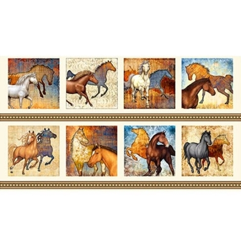 Mustang Sunset Horse Large Patch Cream 24x44 Cotton Fabric Panel
