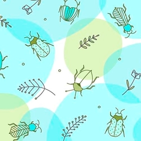Thalia Beetles Bugs Insects Bettle Aqua Cotton Fabric