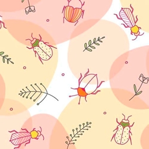 Thalia Beetles Bugs Insects Bettle Coral Cotton Fabric