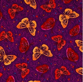 Moxie Butterfly Red and Orange Butterflies on Plum Cotton Fabric