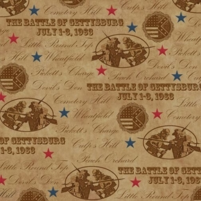 Gettysburg Battle Names on Light Brown Civil War Cotton Fabric