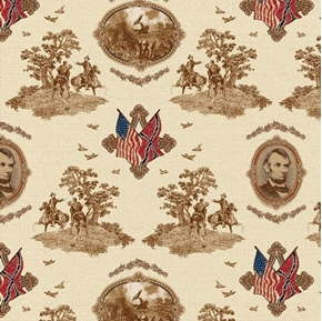Gettysburg Toile President Lincoln and Flags Civil War Cotton Fabric