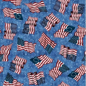 American Pride Flag Toss Flags Through History Blue Cotton Fabric