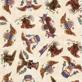 American Pride Eagle Toss E Pluribus Unum Cream Cotton Fabric