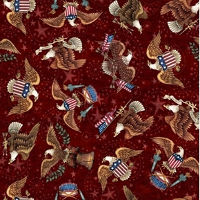 American Pride Eagle Toss E Pluribus Unum Brick Red Cotton Fabric