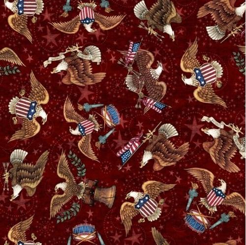 American Pride Eagle Toss E Pluribus Unum Brick Red Cotton Fabric
