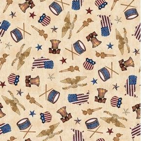 American Pride American Toss Liberty Bell Flag Torch Tan Cotton Fabric