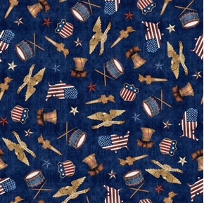 American Pride American Toss Liberty Bell Flag Torch Navy Blue Cotton Fabric