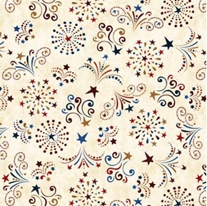 American Pride Fireworks Stars and Sparklers Cream Cotton Fabric