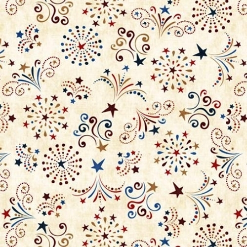 Picture of American Pride Fireworks Stars and Sparklers Cream Cotton Fabric