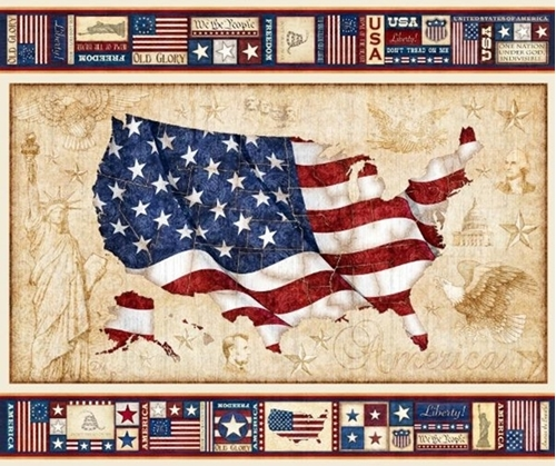 American Pride U.S. Flag Old Glory Patriotic Cotton Fabric Panel