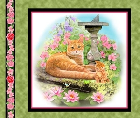 Picture of Fancy Felines Orange Tabby Cat Kitten Cotton Fabric Pillow Panel