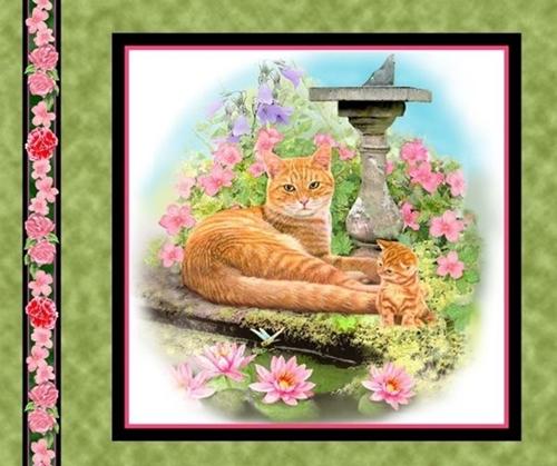 Fancy Felines Orange Tabby Cat Kitten Cotton Fabric Pillow Panel