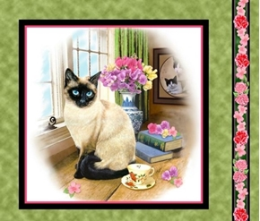 Picture of Fancy Felines Siamese Cat Kitten Cotton Fabric Pillow Panel
