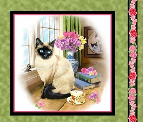 Fancy Felines Siamese Cat Kitten Cotton Fabric Pillow Panel