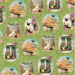 Picture of Fancy Felines Cat Vignettes Floral Scenes Green Cotton Fabric