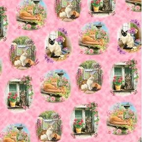 Fancy Felines Cat Vignettes Floral Scenes Pink Cotton Fabric