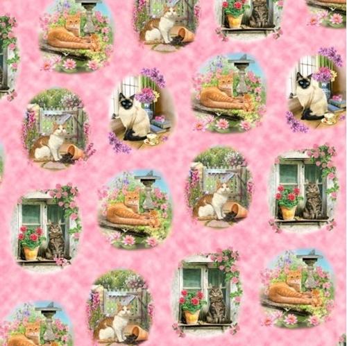 Fancy Felines Cat Vignettes Floral Scenes Pink Cotton Fabric