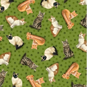 Fancy Felines Tossed Cats Kittens Paw Prints Green Cat Cotton Fabric
