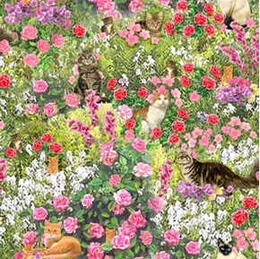 Fancy Felines Cats in the Garden Kittens Flowers Cat Cotton Fabric