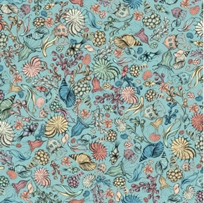 Midnight Garden Packed Flowers Fish and Shells Blue Cotton Fabric