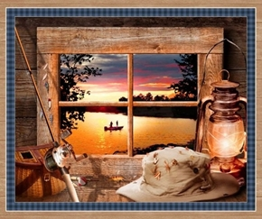 Artworks XI Sunset Lake Fishing Digital Cotton Fabric Panel