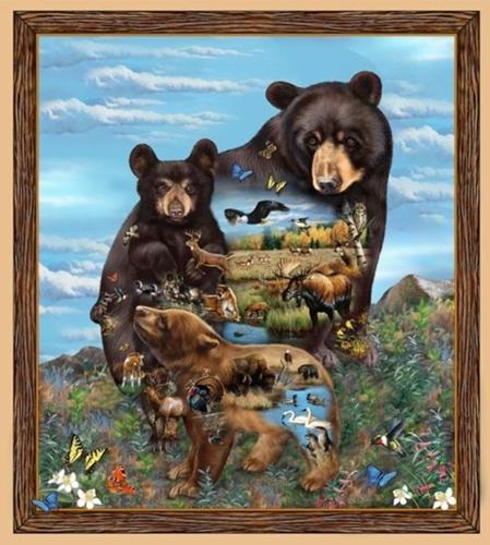 Artworks XI Bear Woodland Animals 24x22 Digital Fabric Pillow Panel