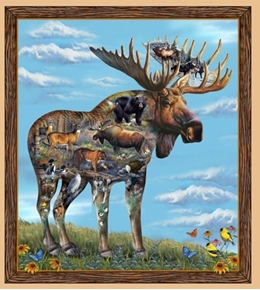 Artworks XI Moose with Woodland Animals 24x22 Digital Fabric Pillow Panel