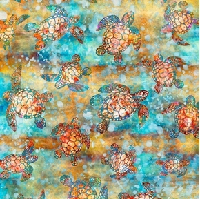 Picture of Oceana Turtles Colorful Nautical Aquatic Themed Beige Cotton Fabric