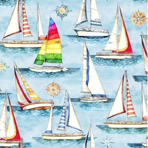 Smooth Sailing Sailboats Nautical Star Light Blue Boat Cotton Fabric