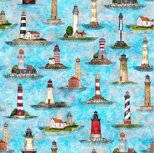 Picture of Smooth Sailing Lighthouses Light House Turquoise Cotton Fabric