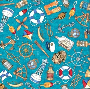 Picture of Smooth Sailing Nautical Toss Buoy Anchor Float Turquoise Cotton Fabric