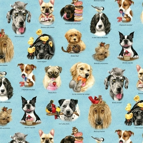 Doggie Drama Silly Dogs Dog Breeds Funny Blue Cotton Fabric