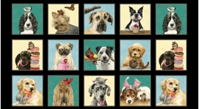Doggie Drama Silly Dogs Dog Breeds Funny 24x44 Cotton Fabric Panel