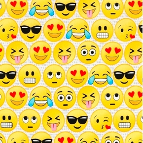 Picture of Emoticons Emojies Cool Face Laughing Blowing Kiss White Cotton Fabric