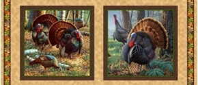 Turkey Hill Turkeys in Autumn 18x44 Cotton Fabric Pillow Panel Set