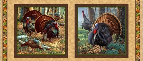 Turkey Hill Turkeys in Autumn 18x44 Cotton Fabric Pillow Panel Set