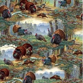 Picture of Turkey Hill Turkey Scenic Turkeys in the Autumn Woods Cotton Fabric