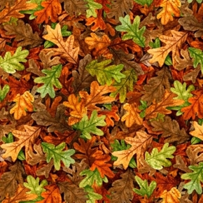 Turkey Hill Leaves in the Autumn Woods Rust and Green Cotton Fabric