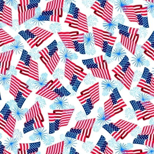 Picture of Red, White & Blue American Flags and Fireworks Cotton Fabric