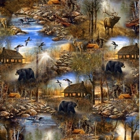 In The Wilderness Scenic Cabin Camping Wildlife Woods Cotton Fabric