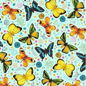 Fly Free Tossed Butterflies and Flowers Aqua Blue Cotton Fabric