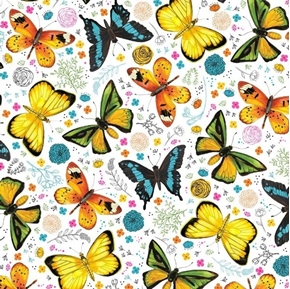 Picture of Fly Free Tossed Butterflies and Flowers White Cotton Fabric
