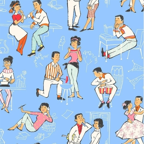 Picture of Going Steady Retro Couples Courting Dating Periwinkle Cotton Fabric