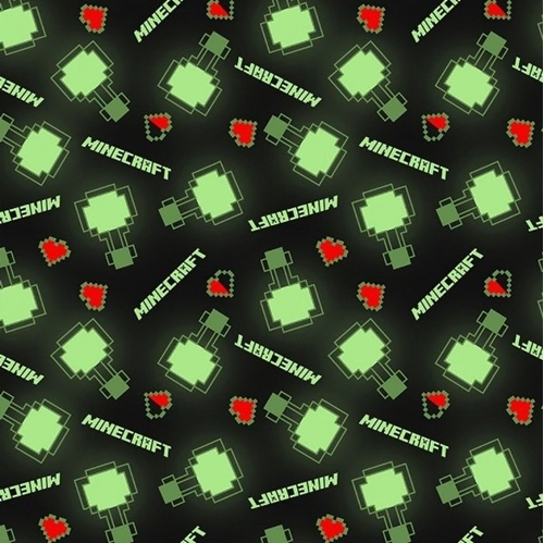 Picture of Minecraft Level Up Video Game Mod Black Cotton Fabric