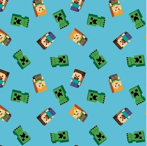 Picture of Minecraft Friends Multiplayer Video Game Items Cotton Fabric