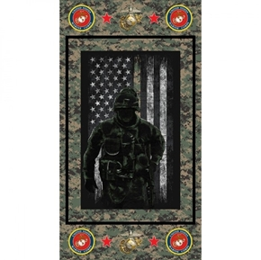 Military United States Marines Armed Service 24x44 Cotton Fabric Panel